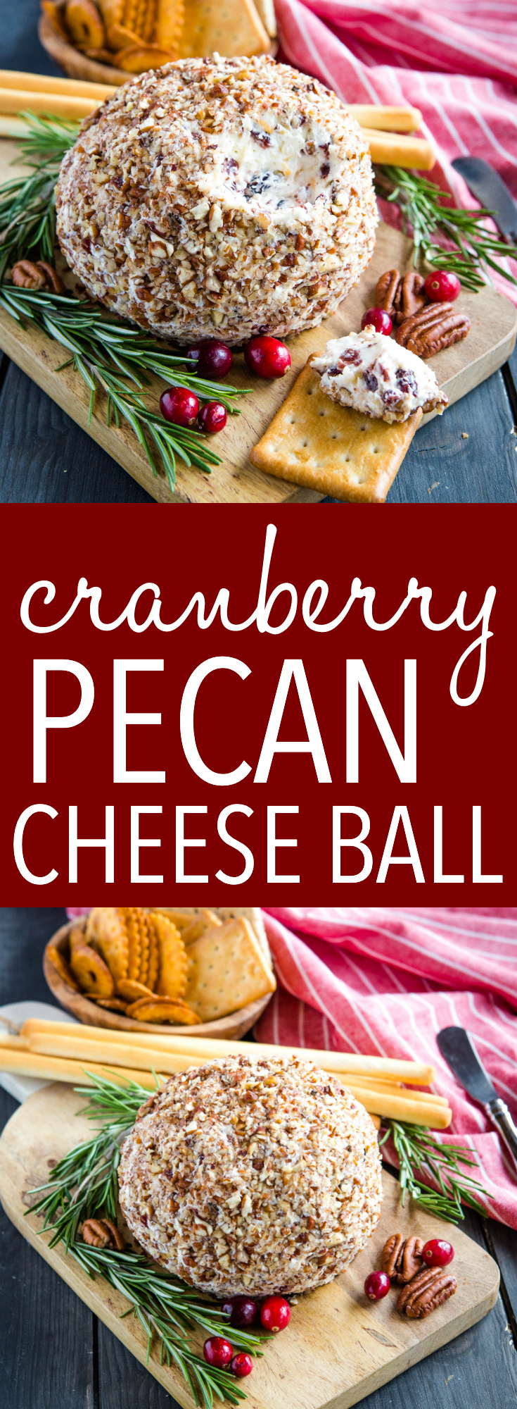 This Cranberry Pecan Cheese Ball is the perfect easy to make appetizer or snack for entertaining! It can be served with your favourite crackers or veggies! Recipe from thebusybaker.ca! #cheeseball #thanksgiving #christmas #appetizer #snack #newyearseve #nye via @busybakerblog