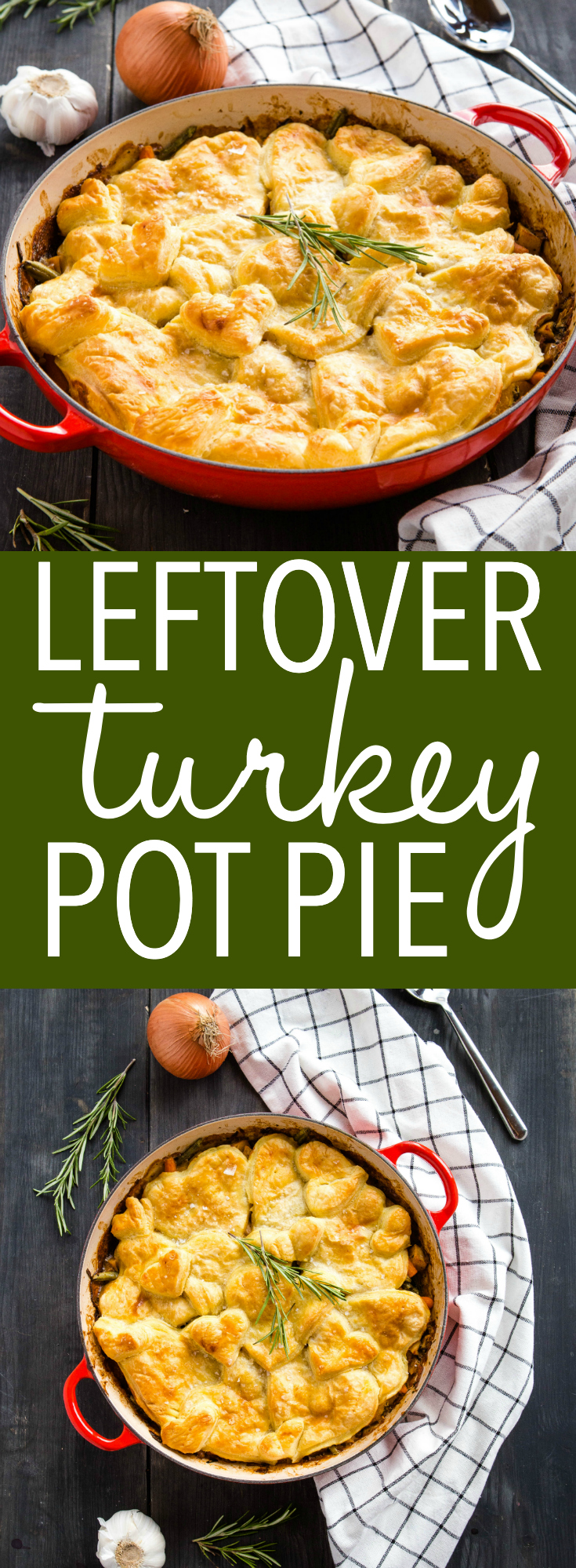 This Leftover Turkey Pot Pie is the perfect easy weeknight meal to make with leftover holiday turkey and frozen veggies! It's a classic comfort food meal that's on the table in 35 minutes or less! Recipe from thebusybaker.ca! #leftovers #turkey #thanksgiving #christmas #holidays #potpie #onepan #potpot #mealidea #mealprep #mealplanning #family via @busybakerblog