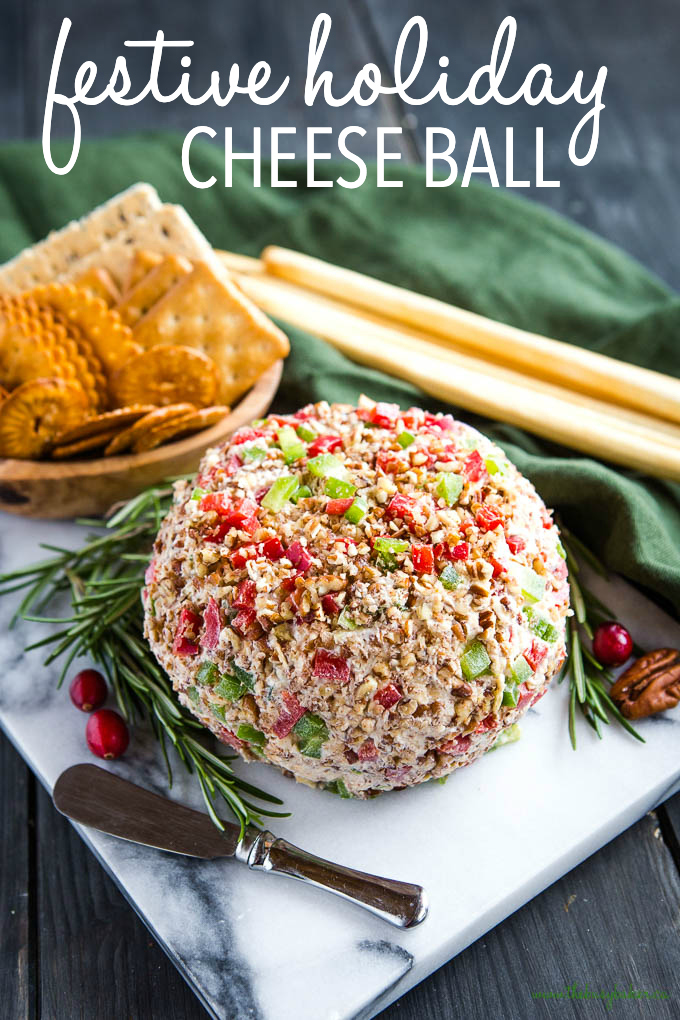 titled photo (and shown): festive holiday cheese ball (with red and green ingredients)