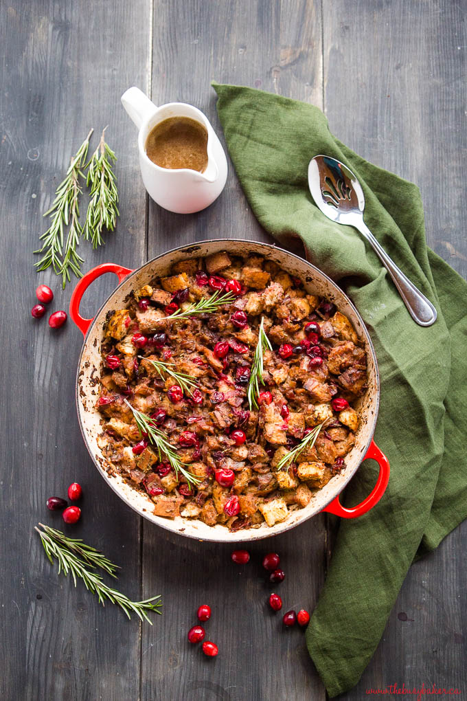 holiday bread dressing in red cast iron pan