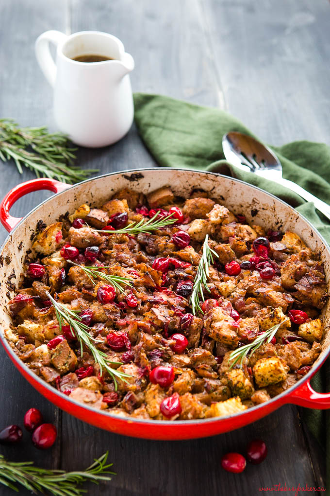 one pan stuffing full of cranberries and crispy bacon