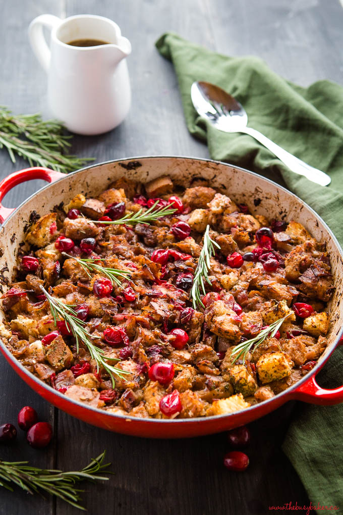 cranberry bacon stuffing in red cast iron pan