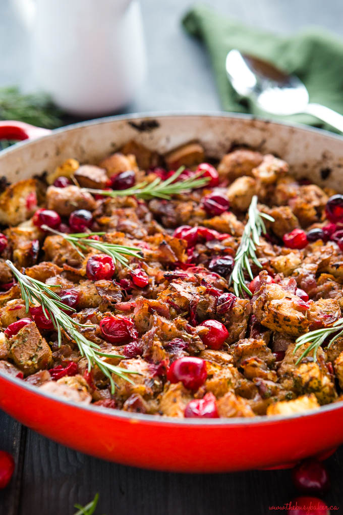 pan of holiday stuffing in red pan on a stove top
