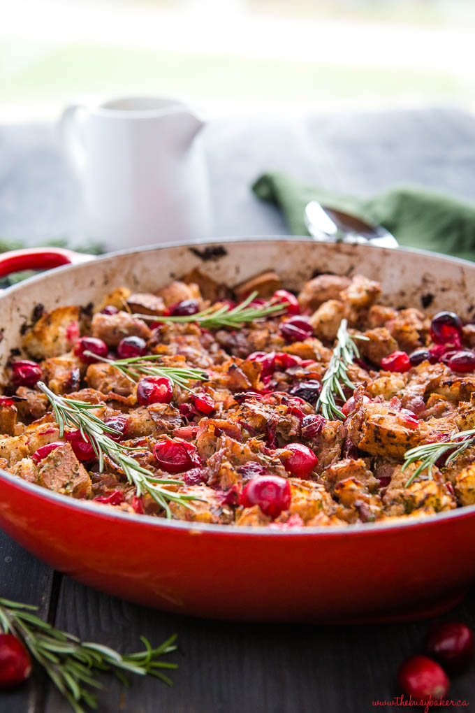cranberry bacon stuffing with rosemary and gravy