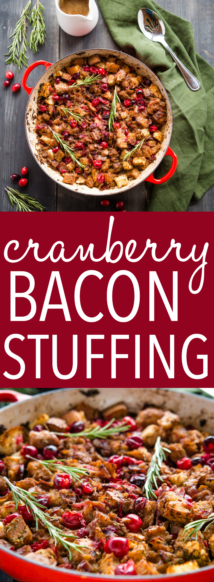 This One Pan Cranberry Bacon Stuffing is a delicious holiday side dish that's packed with seasonal flavours! It's easy to make in about 30 minutes and it's perfect for Christmas! Recipe from thebusybaker.ca! #cranberry #bacon #stuffing #christmas #holiday #sidedish #flavour #rosemary #herbs #christmasdinner #family via @busybakerblog