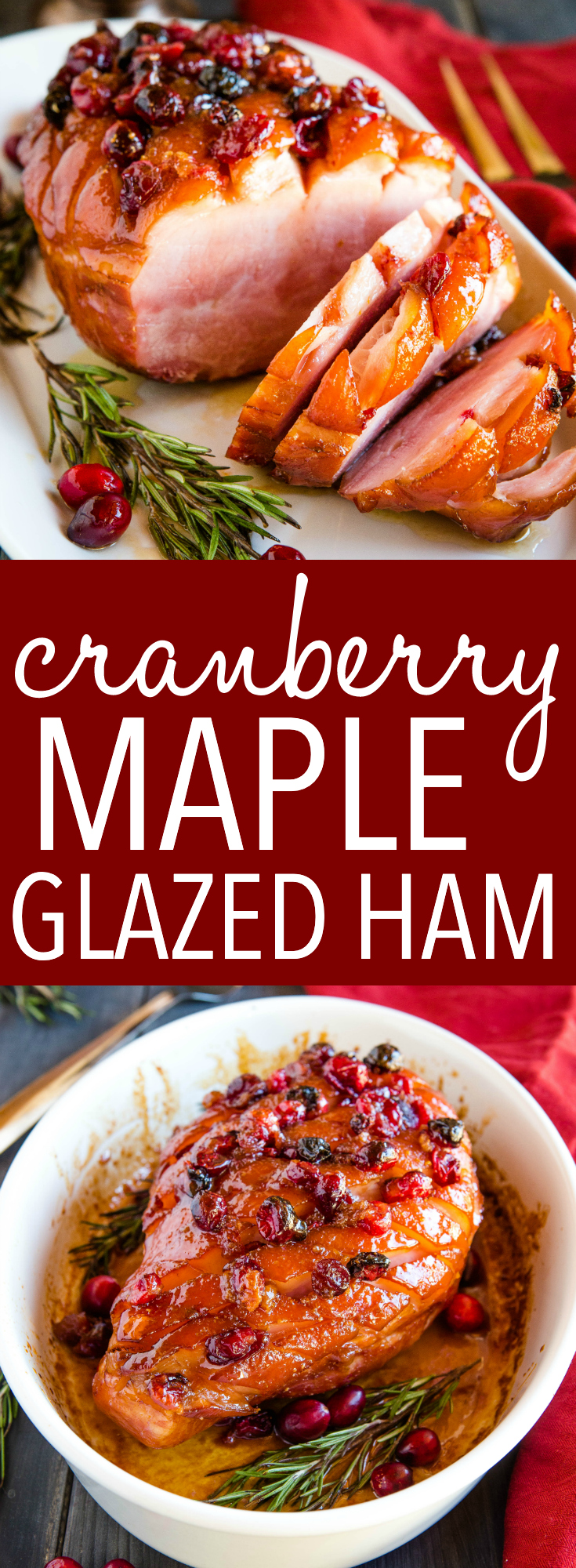 This Easy Cranberry Maple Glazed Ham is the perfect simple main dish for the holidays, and it's perfect for a crowd! An easy 3-ingredient maple glaze and fresh cranberries makes this Christmas Ham so delicious! Recipe from thebusybaker.ca! #ham #christmas #holidayham #holidays #cranberries #maple #mapleglazedham #easyrecipe #simple #homemade #recipe #roasting #christmasdinner #dinner #potluck via @busybakerblog