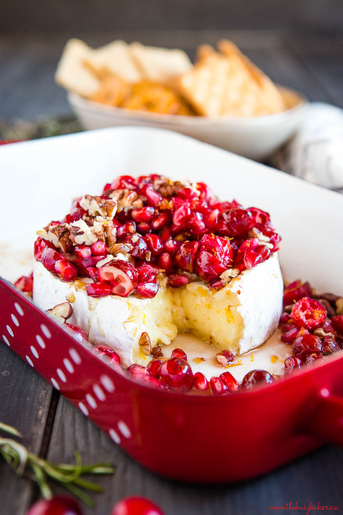 melted brie with cranberries and pecans