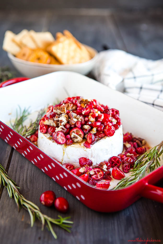 baked brie with cranberries and pomegranate seeds