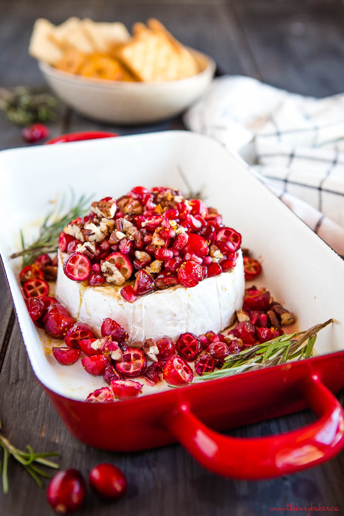 cranberry pomegranate baked brie appetizer