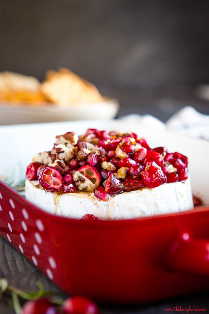 cranberries on brie with pecans