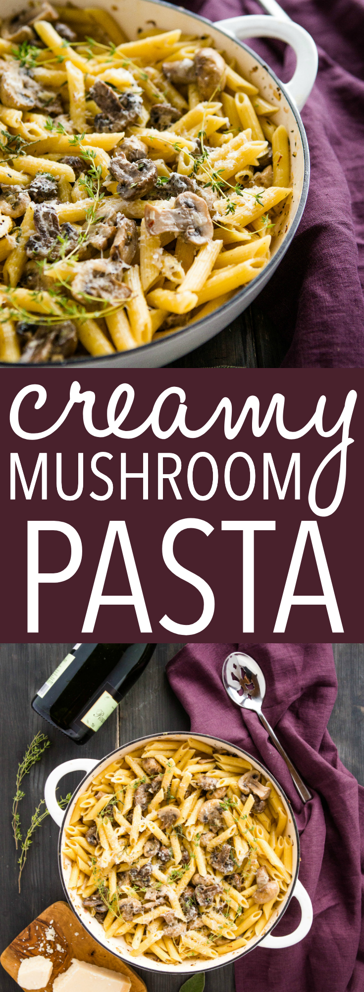 This Creamy Mushroom Champagne Pasta is a rich and delicious vegetarian main dish or side dish that's easy enough for a weeknight meal and decadent enough for a special occasion. 2 kinds of mushrooms cooked in a creamy champagne sauce with fresh herbs! Recipe from thebusybaker.ca! #champagne #pasta #creamy #mushroom #mushrooms #decadent #homemade #restaurant #herbs #easyrecipe #recipe #sauce via @busybakerblog