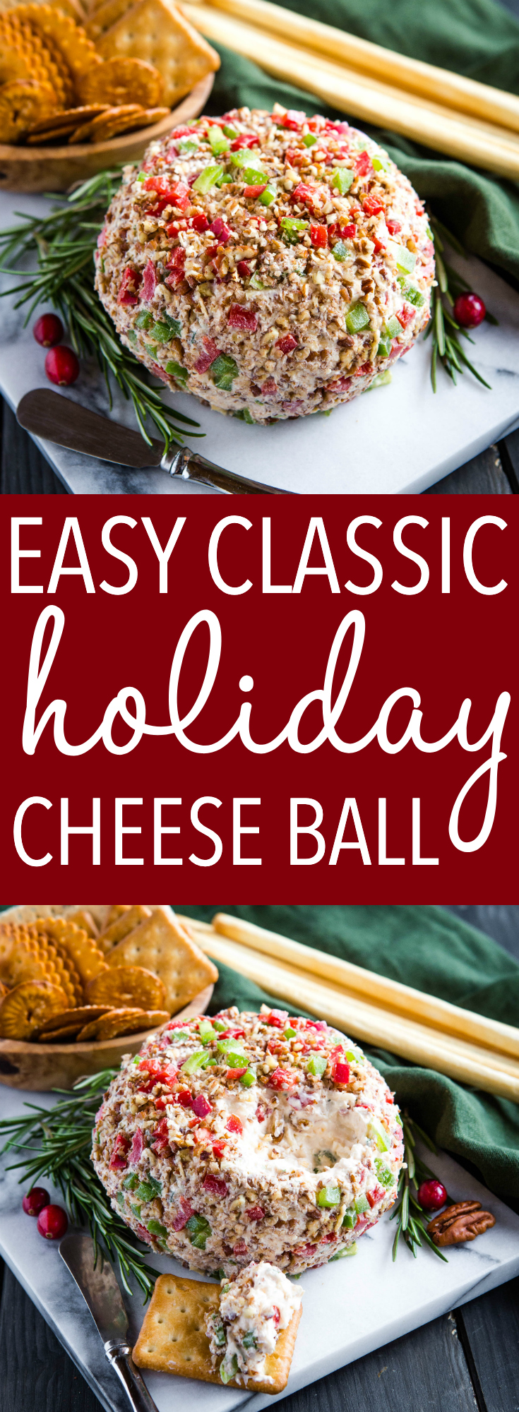 This cheddar cheese ball recipe makes a delicious appetizer for holiday entertaining.  It's easy to make with simple ingredients and the festive green and red colour means it's pretty as well! Recipe from thebusybaker.ca! #cheeseball #cheese #appetizer #christmas #festive #holiday #holidayentertaining #entertaining #guests #christmasdinner #makeahead via @busybakerblog