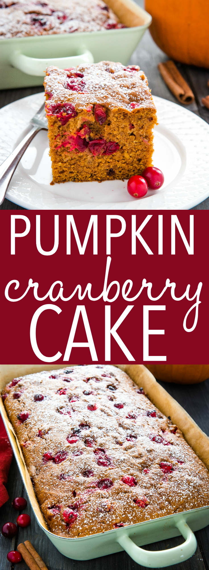 This Easy Pumpkin Cranberry Cake is a perfect easy fall & winter dessert! An easy one-bowl pumpkin cake with fresh cranberries, dusted with powdered sugar! Recipe from thebusybaker.ca! #christmas #pumpkin #thanksgiving #cranberry #cranberries #fresh #dessert #sweet #cake #baking #baker #holidays #treat #family #tradition via @busybakerblog