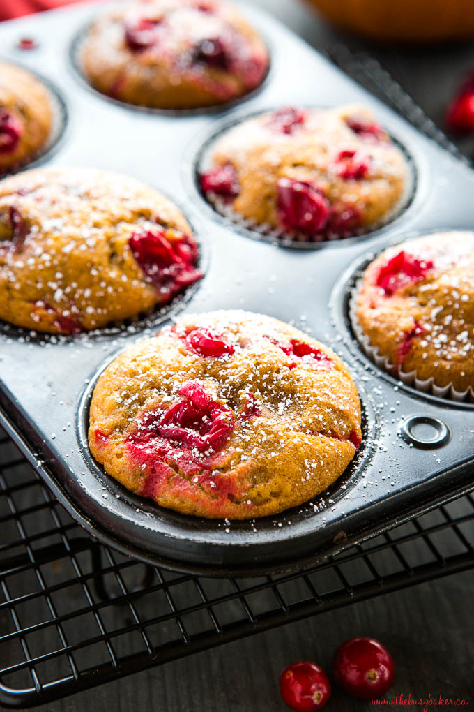 pumpkin cranberry muffins in muffin tin