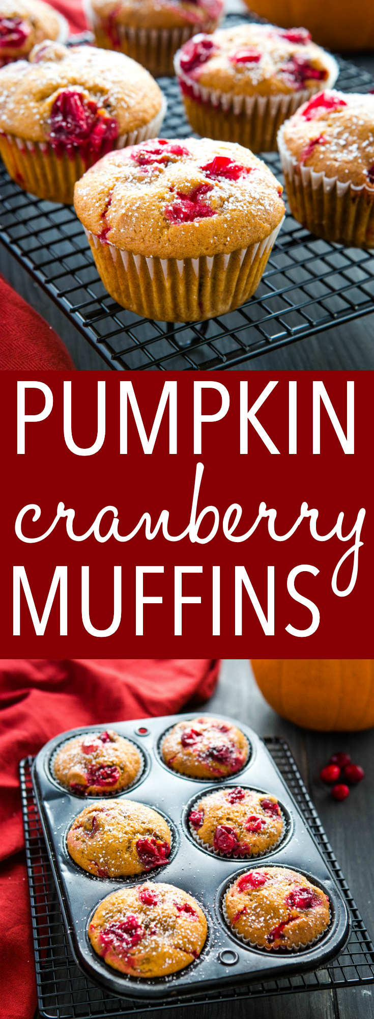 These Pumpkin Cranberry Muffins are the perfect easy fall or winter dessert! An easy one-bowl pumpkin muffin batter with fresh cranberries, these cranberry muffins are moist and flavourful and topped with a dusting of powdered sugar! Recipe from thebusybaker.ca! #muffins #pumpkin #cranberries #dessert #easytomake #onebowl #simplerecipe via @busybakerblog