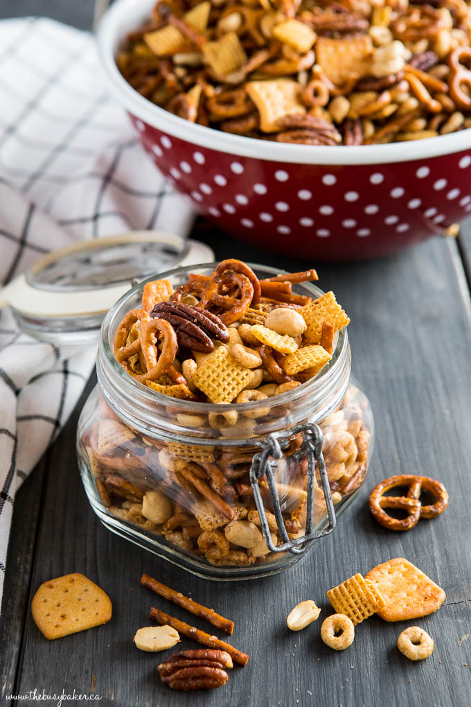 slow cooker snack mix in jar edible gift