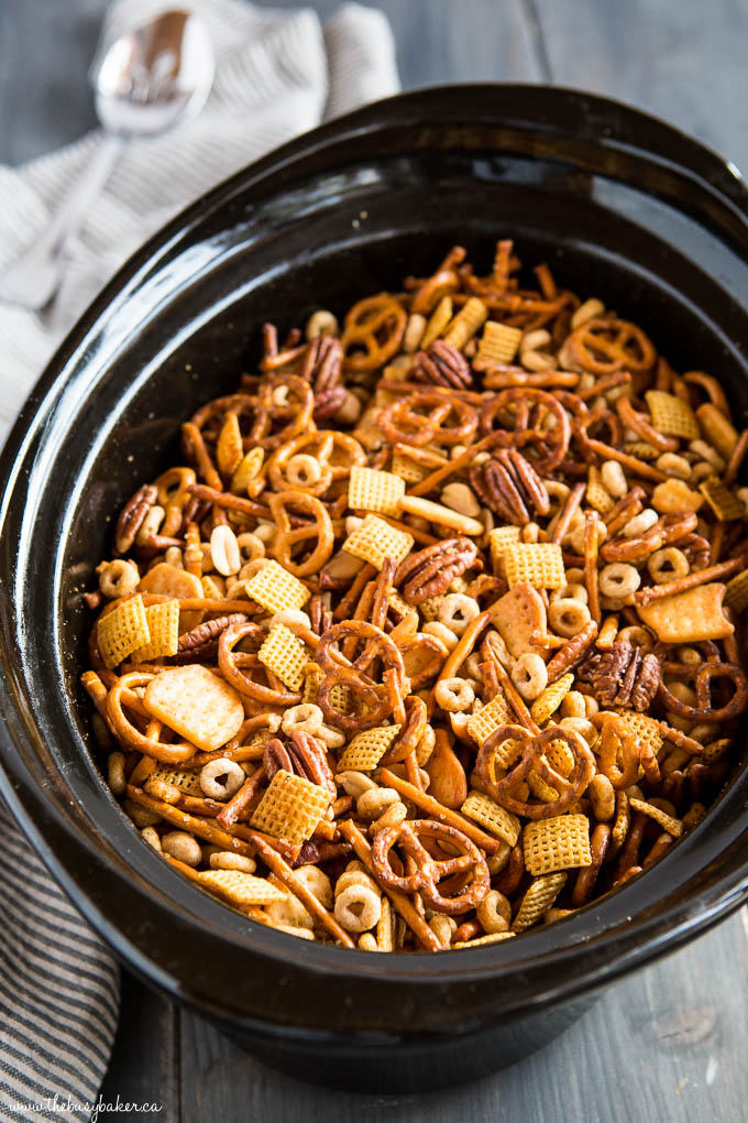 slow cooker nuts and bolts snack mix in crock pot