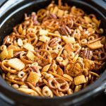 Slow Cooker Nuts and Bolts Snack Mix