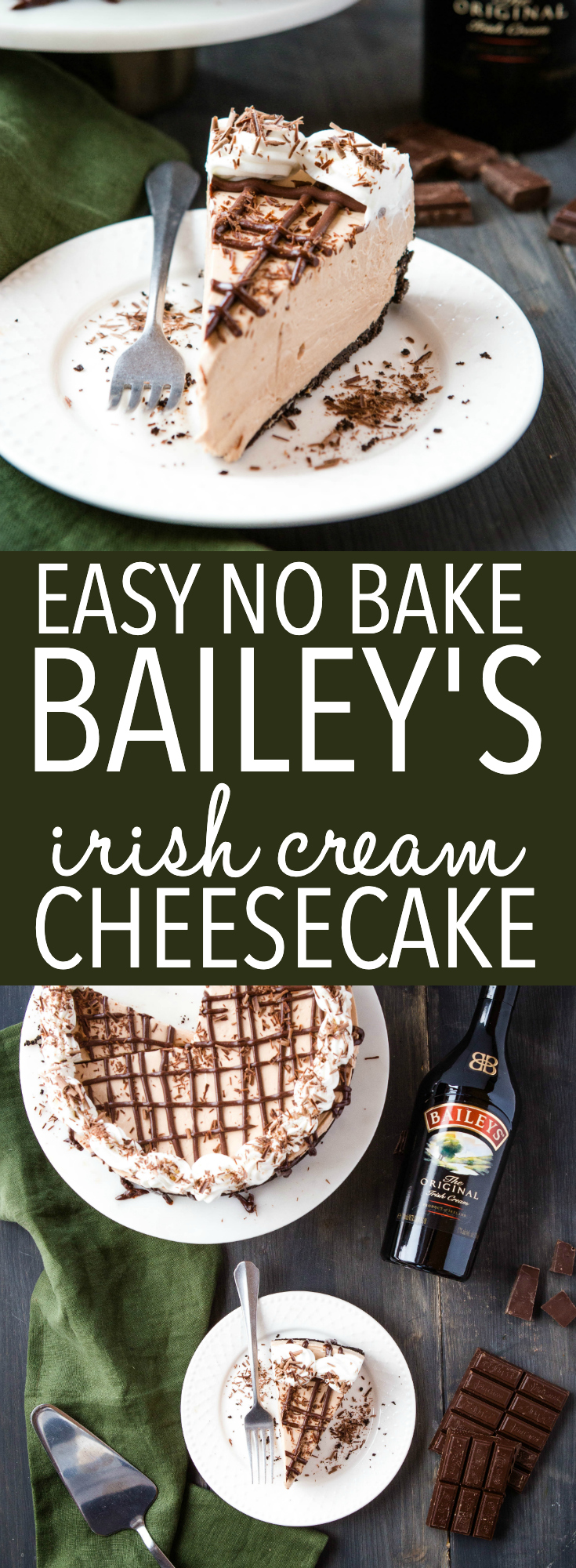 Easy No Bake Bailey's Irish Cream Cheesecake Pinterest