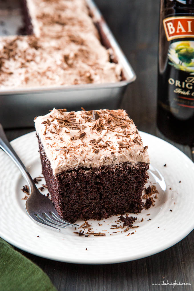 close up photo of Baileys chocolate cake with fluffy Irish Cream frosting