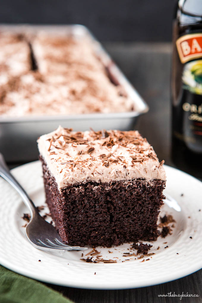 slice of frosted chocolate snack cake for St. Patrick's Day dessert
