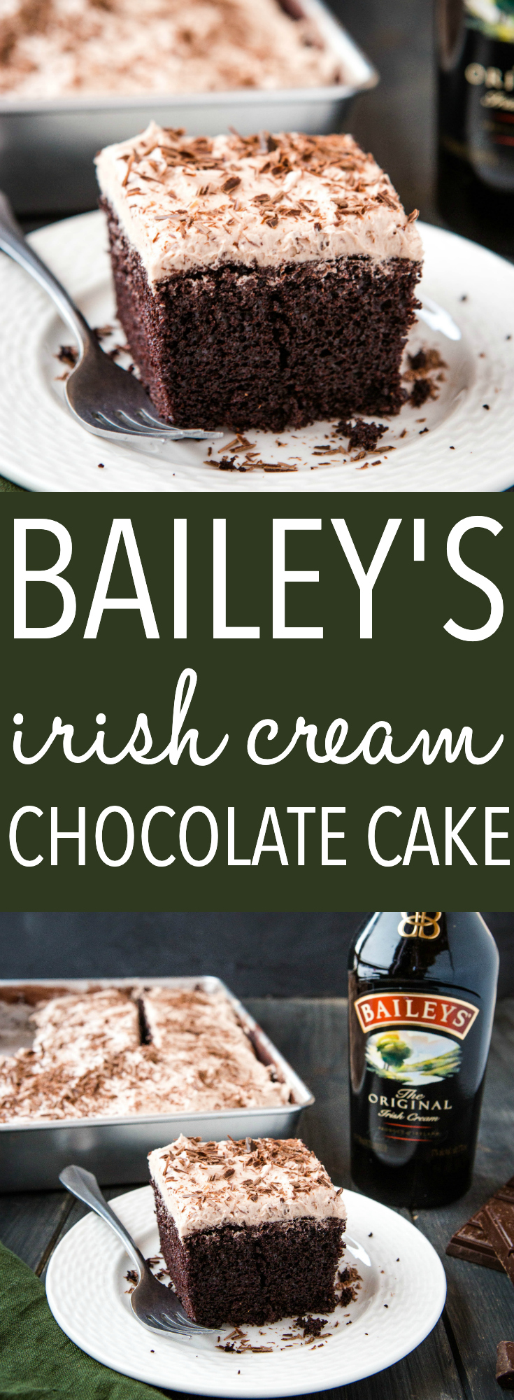 Baileys Chocolate Cake is moist and delicious, infused with Irish cream and Bailey's frosting on top. Make this St. Patrick's Day dessert! Recipe from thebusybaker.ca! #baileys #irishcream #stpatricksday #dessert #cake #chocolatecake #chocolate #indulge #buttercream #irishcreamfrosting #cakerecipe via @busybakerblog