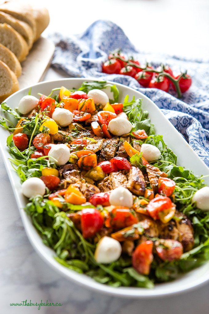 bruschetta salad with chicken and fresh mozzarella