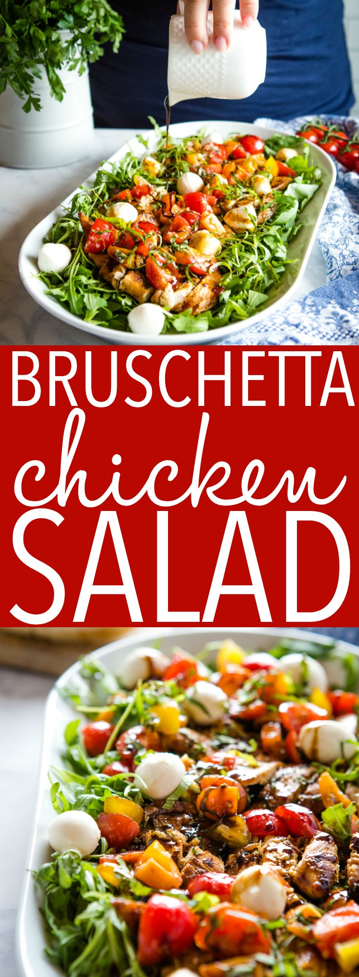 This Bruschetta Chicken Salad is a delicious low-carb lunch or dinner made with simple marinated chicken breast, easy homemade bruschetta and balsamic dressing! Great for meal prep! Recipe from thebusybaker.ca! #bruschetta #chicken #salad #lowcarb #healthy #veggies #fresh #health #lowfat #lowcalorie #homemade via @busybakerblog