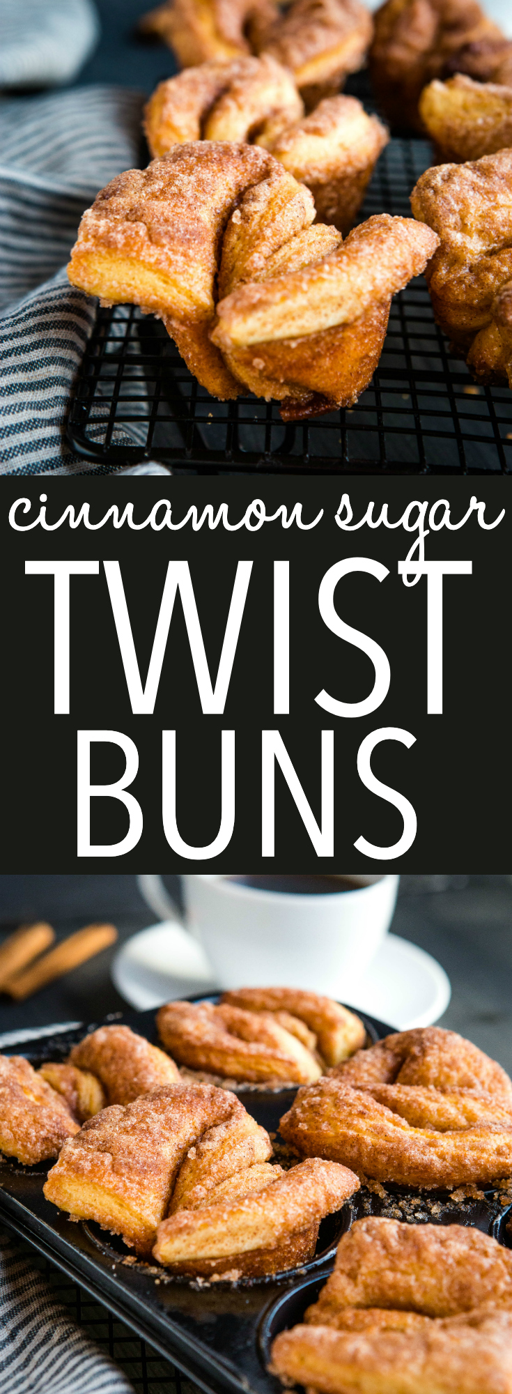 Sugary Cinnamon Twists are the perfect sweet treat for donut lovers! Sweet breakfast pastries rolled in butter and cinnamon sugar, they're great with brunch or a coffee break. Recipe from thebusybaker.ca! #cinnamonsugar #sweetrolls #homemade #fromscratch #sweetbuns #brunch #breakfast #coffeebreak #donuts #muffins via @busybakerblog