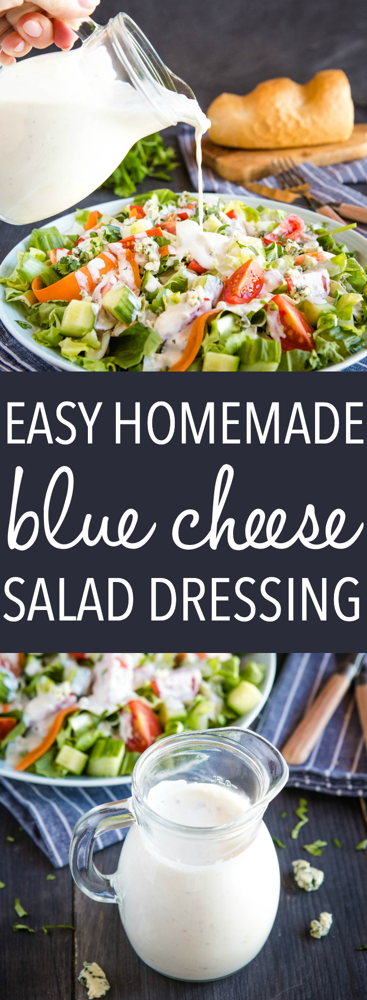 This Blue Cheese Dressing recipe makes a delicious homemade keto salad dressing for blue cheese lovers! Make it in minutes with only 5 ingredients. Recipe from thebusybaker.ca! #saladdressing #salad #bluecheese #bluecheesedressing #ketobluecheesedressing via @busybakerblog