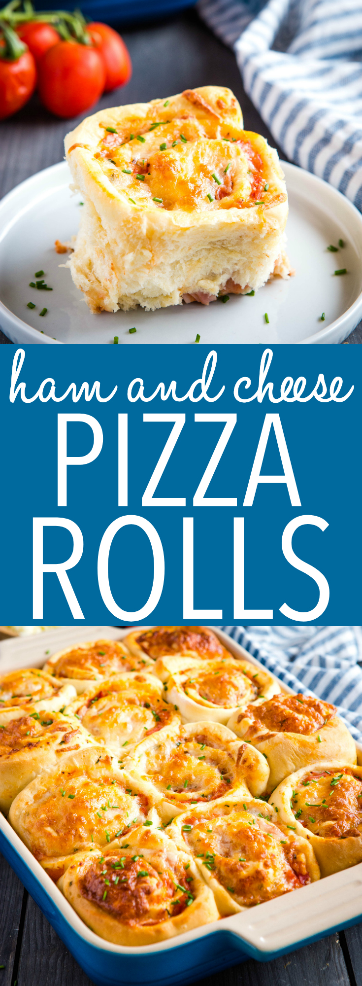 These Ham and Cheese Pizza Rolls are the perfect savoury treat with meat, cheese and veggies - great for a picnic, on-the-go lunches or an after-school snack! Recipe from thebusybaker.ca! #ham #cheese #pizza #cinnamonrolls #pizzarolls #snack #lunch #easy #kids #kidfriendly  via @busybakerblog