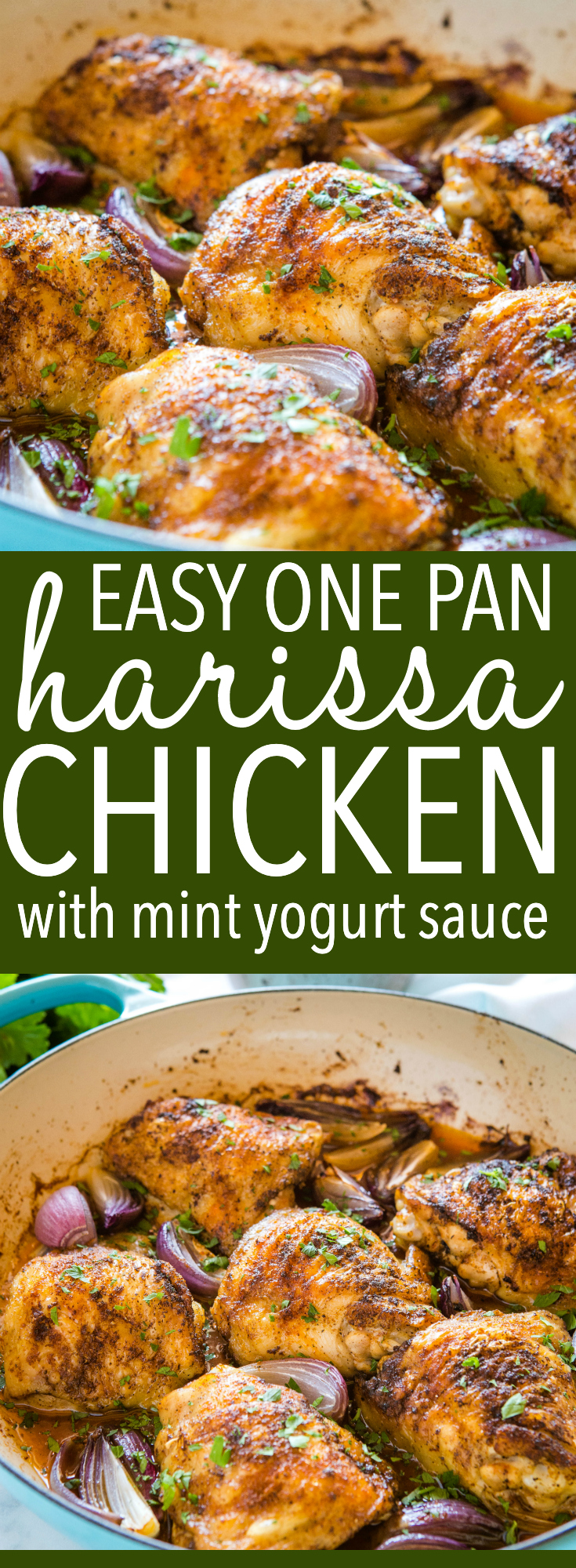 African Chicken Harissa with Mint Yogurt Sauce is a delicious main dish that's packed with flavour! Make this easy chicken recipe in under 30 minutes! Recipe from thebusybaker.ca! #harissa #chicken #mint #yogurt #africanchicken #spicy #middleeastern #familymeal #roastchicken via @busybakerblog