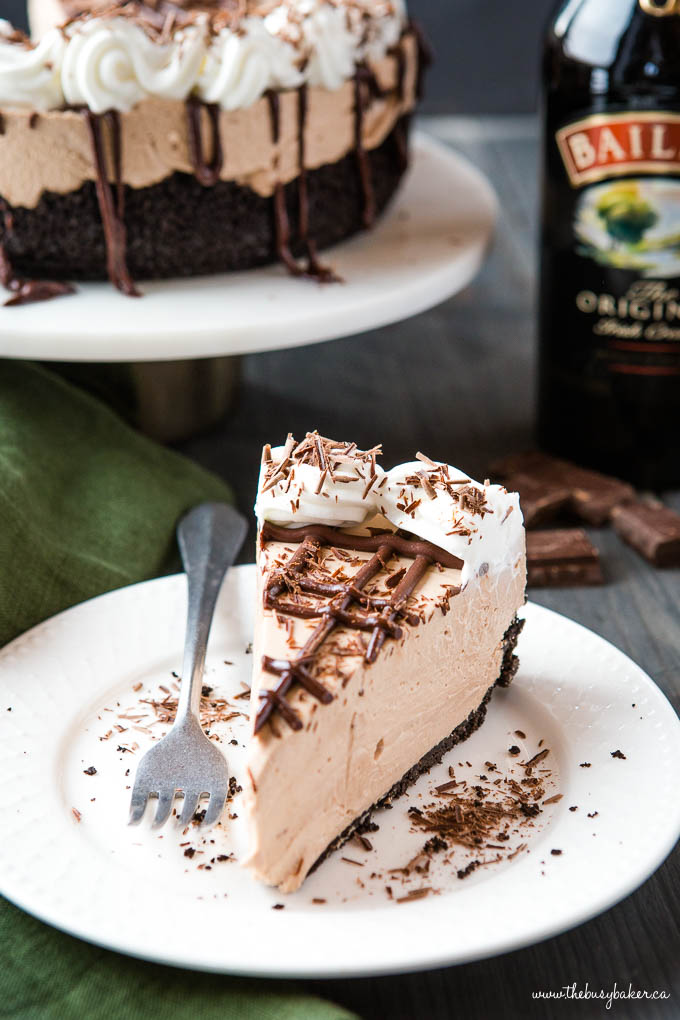 Slice of Bailey's Irish Cream Cheesecake Recipe