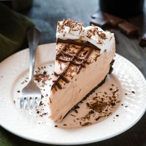 plated slice of Baileys Irish Cream cheesecake