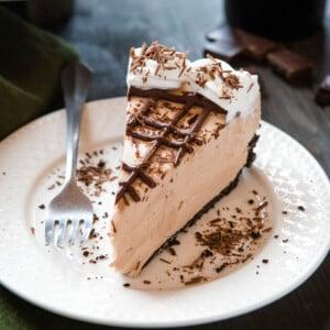 plated slice of Baileys Irish Cream cheesecake