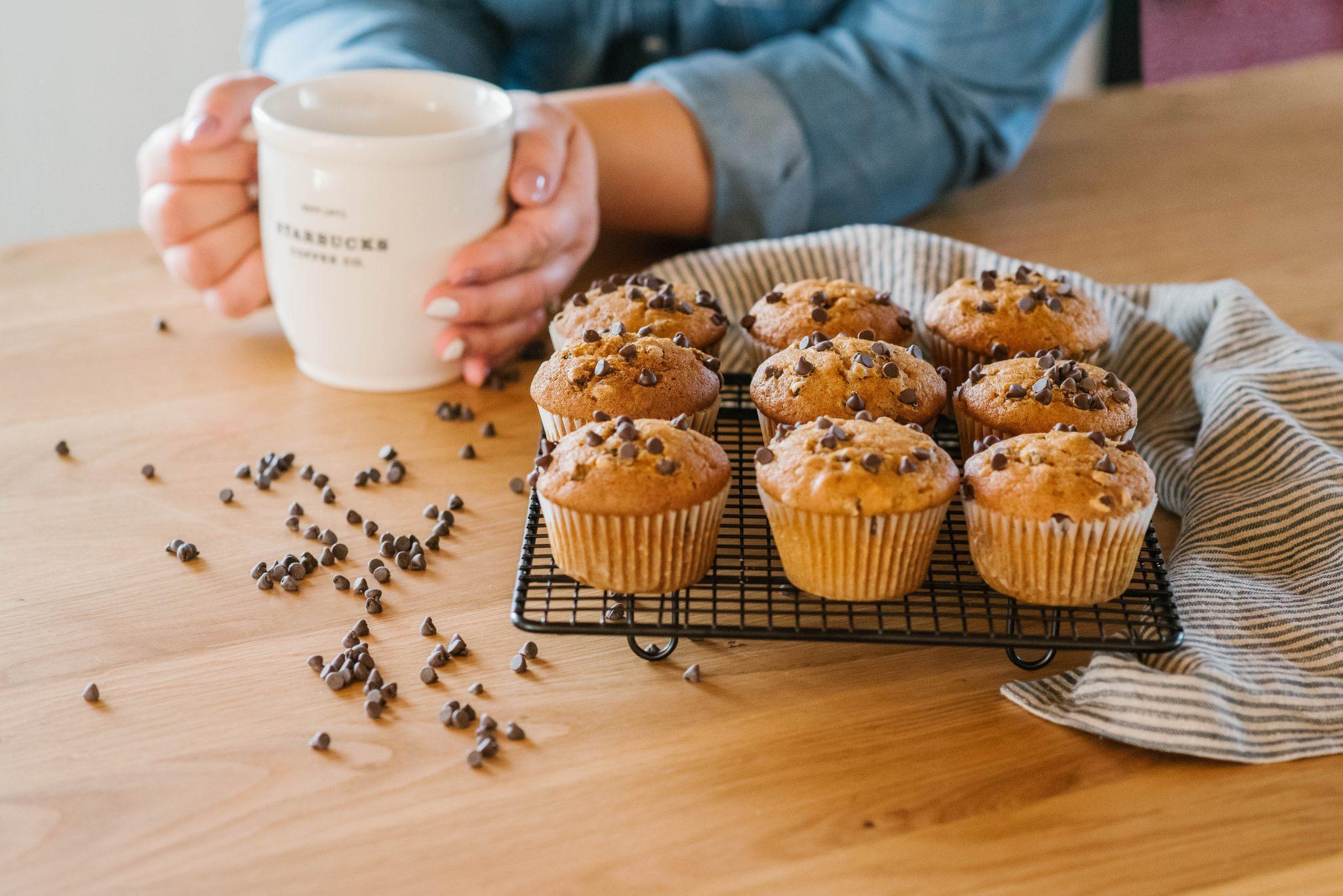 pumpkin chocolate chip muffins for coffee break in kitchen