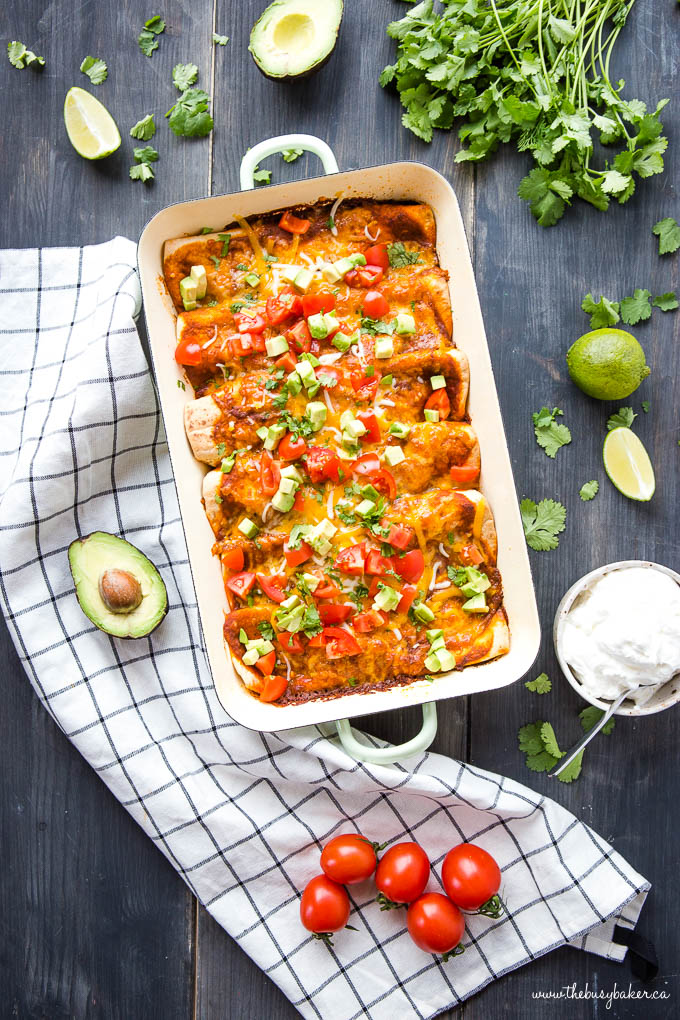 pan of black bean and sweet potato enchiladas