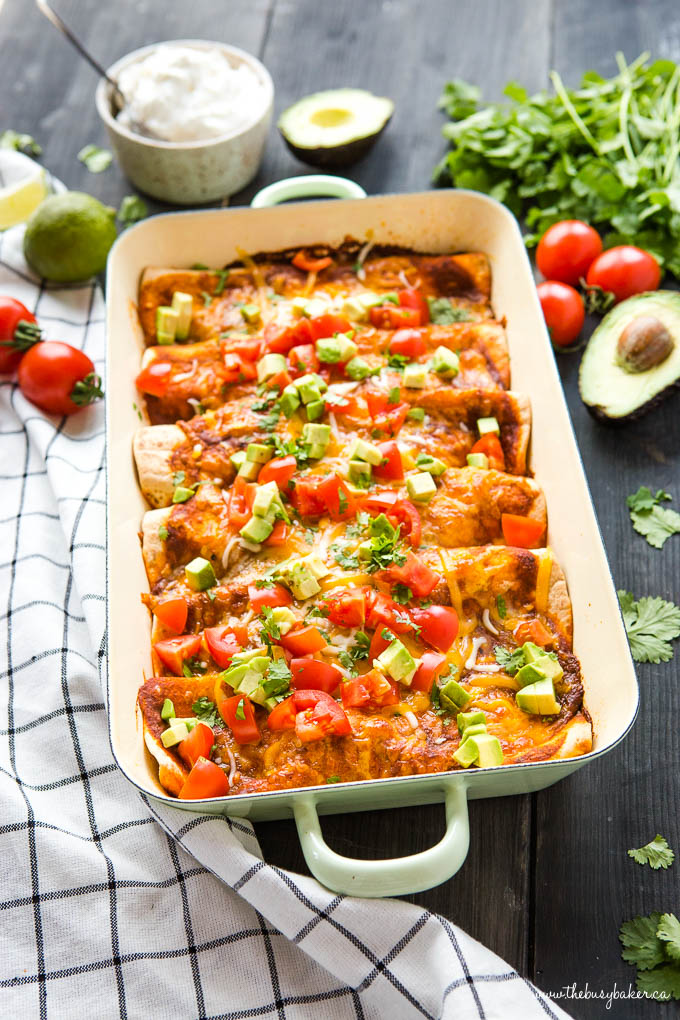 Mexican vegetarian casserole made with sweet potatoes and black beans