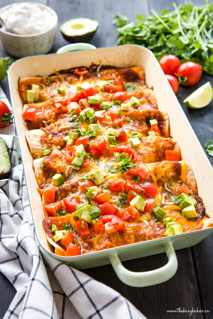Black Bean and sweet potato enchiladas casserole
