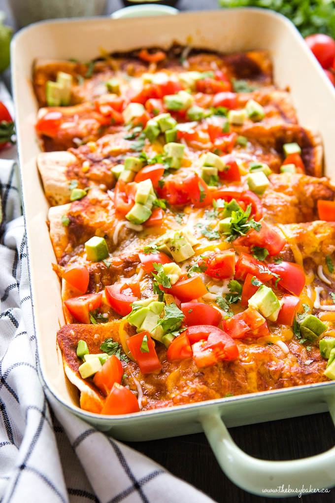 pan of Vegetarian Enchiladas