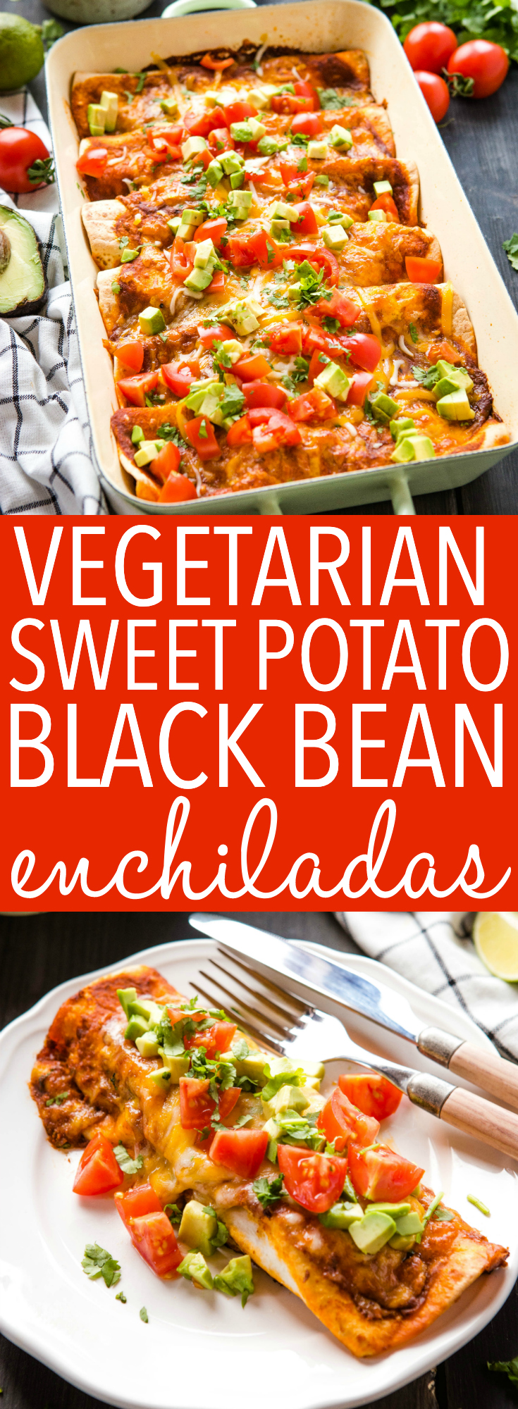 Sweet Potato Black Bean Enchiladas make a delicious healthy Mexican-inspired meal. Make this vegetarian enchiladas recipe tonight. it's kid-friendly! Recipe from thebusybaker.ca! #vegetarian #plantbased #healthy #family #mealidea #familydinner #weeknightmeal #veggies #kidfriendly #easytomake #recipe via @busybakerblog