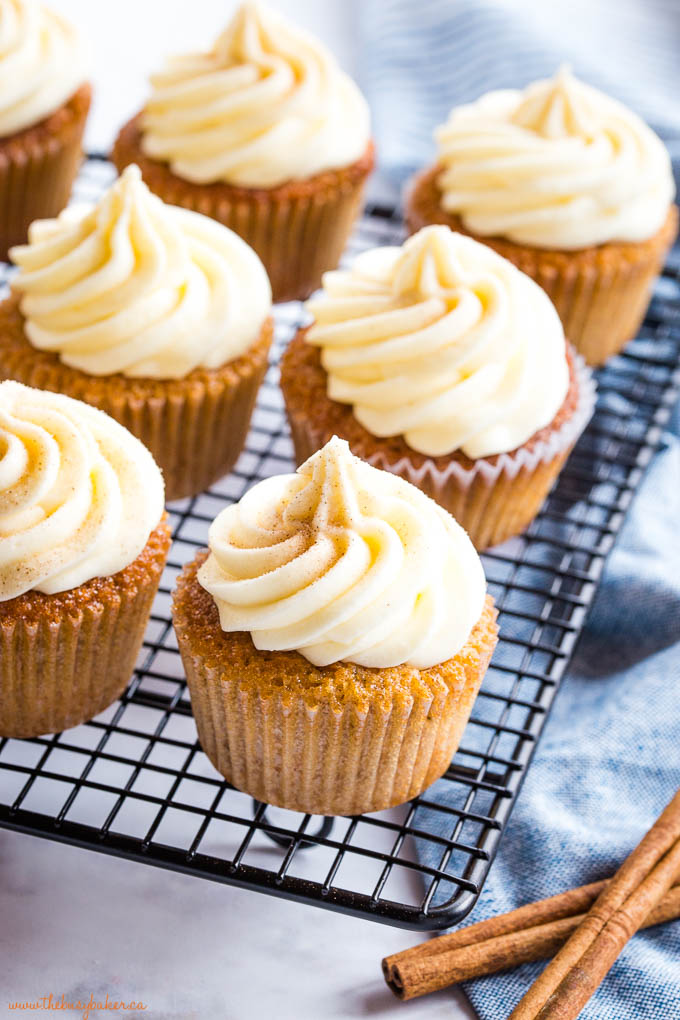 carrot cake cupcakes with cream cheese frosting and cinnamon spice