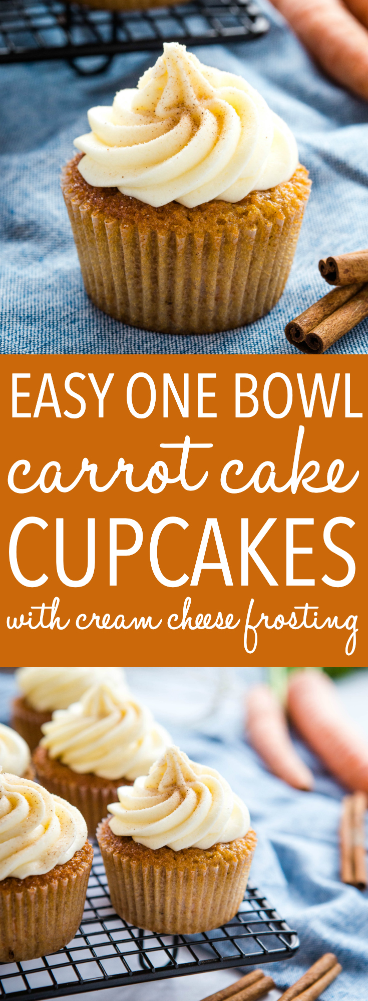 These Best Ever Carrot Cake Cupcakes are the perfect Easter dessert for carrot cake lovers! A simple one-bowl carrot cake recipe with fluffy cream cheese frosting and cinnamon spice! Recipe from thebusybaker.ca! #carrotcake #cupcakes #carrotcupcakes #creamcheesefrosting #easter #spring #homemade #dessert #recipe via @busybakerblog