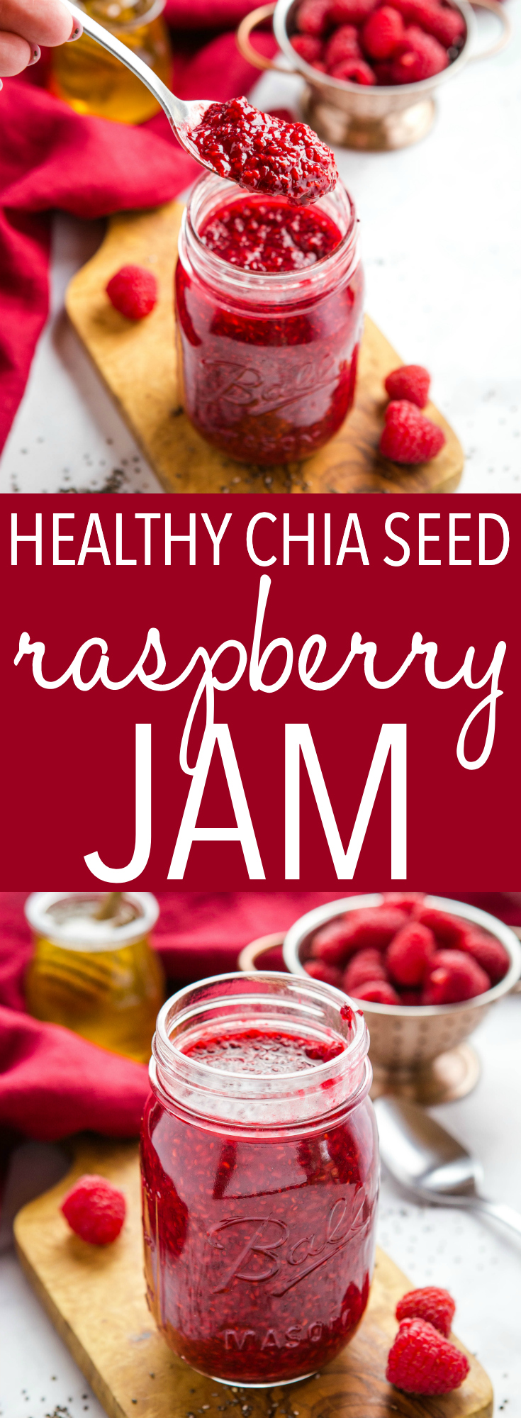 This Easy 3-Ingredient Chia Seed Raspberry Jam is the perfect healthy alternative to conventional jam! It's made with 3 healthy, natural, whole-food ingredients and it's quick and easy to make yourself! Recipe from thebusybaker.ca! #jam #healthy #wholefoods #chiaseeds #health #refinedsugarfree #diabeticrecipe #fruit #homemade #homesteading via @busybakerblog