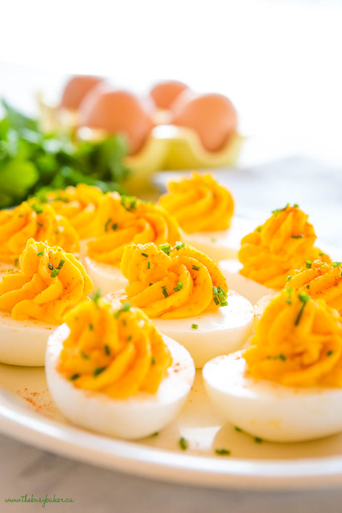 classic deviled eggs with paprika and chives