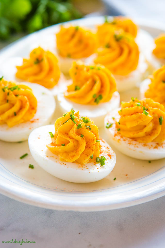 easy classic deviled eggs with paprika and chives