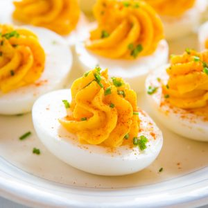 beautiful appetizer made with the best deviled eggs recipe