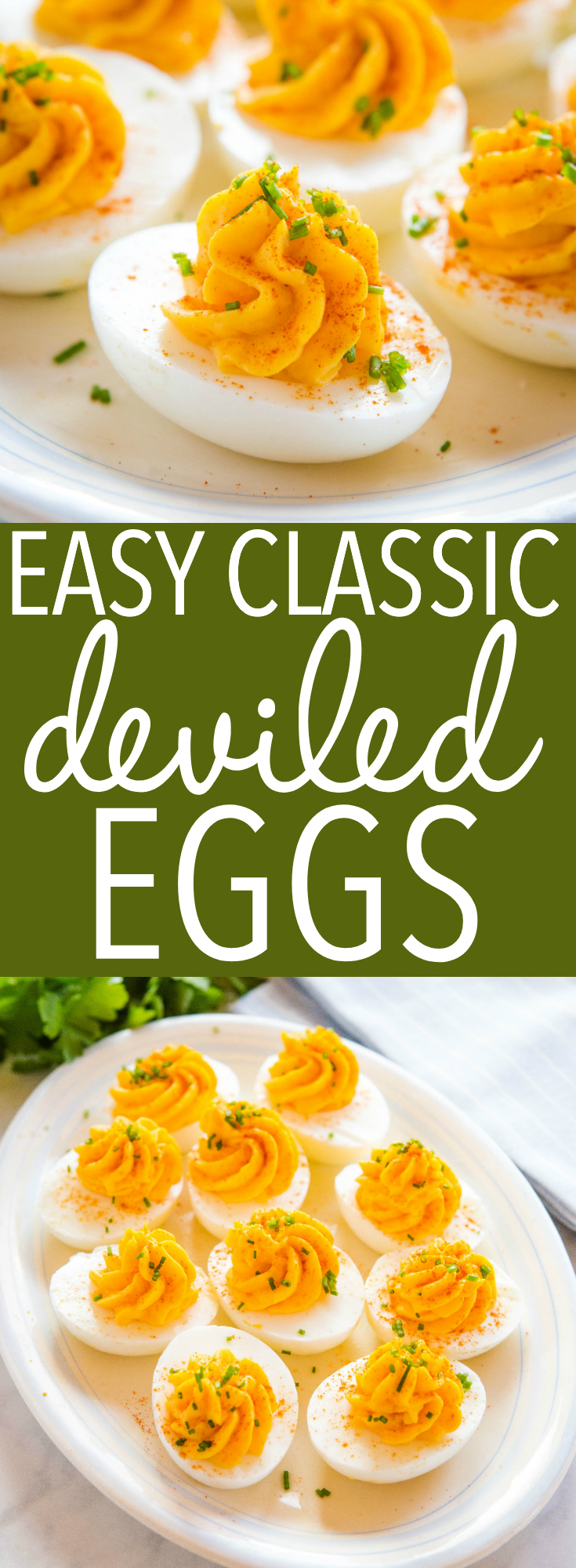 These Easy Classic Deviled Eggs are perfect for Easter or a summer party! Ultra creamy filling with traditional deviled egg flavours - easy to make in under 30 minutes! Follow my tips for the BEST hard boiled eggs ever! Recipe from thebusybaker.ca! #deviledeggs #appetizer #easter #snack #easterbunny #summer #picnic #barbecue #homemade #hardboiledeggs #protips #recipetutorial via @busybakerblog
