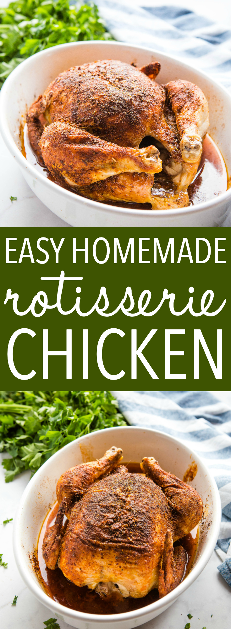 This Easy Homemade Rotisserie Chicken is the perfect simple alternative to supermarket rotisserie chicken with crispy skin and juicy meat - make it in under an hour with just a few pantry ingredients and use it in all your favourite chicken recipes, OR enjoy it as a delicious main dish! Recipe from thebusybaker.ca! #rotisseriechicken #easychickenrecipe #chicken #homemade #spices #pantryrecipe #homemade #familymeal #roastchicken via @busybakerblog
