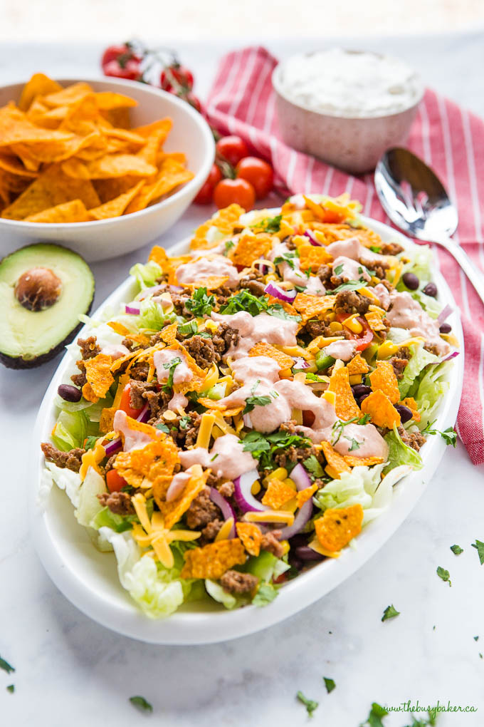 simple taco salad with creamy dressing